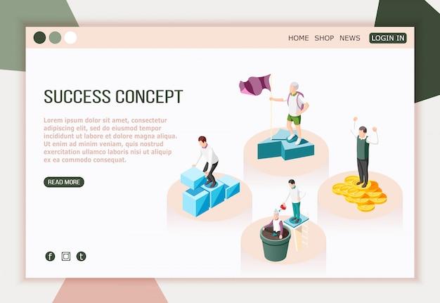 Página de inicio isométrica de concepto de éxito con texto editable de más botones y caracteres de personas exitosas