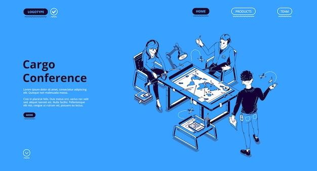 La página de inicio isométrica de la conferencia de carga, los empresarios discuten la distribución global de la carga en el escritorio con el mapa mundial en la oficina. control de operaciones logísticas de empresas internacionales, 3d