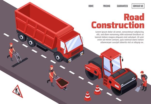 Página de inicio isométrica de construcción de carreteras