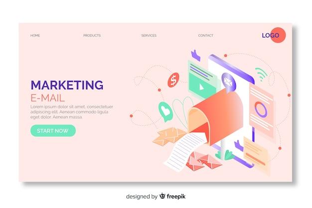 Página de inicio isométrica de correo electrónico de marketing