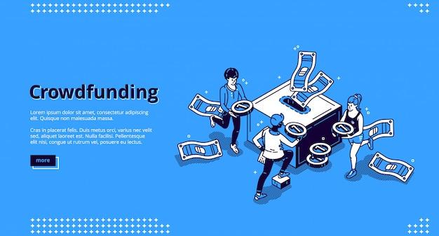 Página de inicio isométrica de crowdfunding, donación