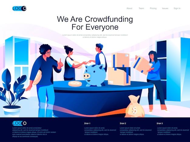 Página de inicio isométrica de crowdfunding con situación de personajes planos