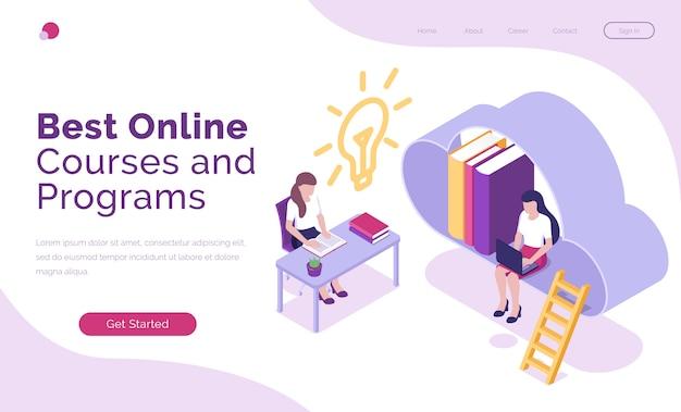 Página de inicio isométrica de cursos y programas en línea.