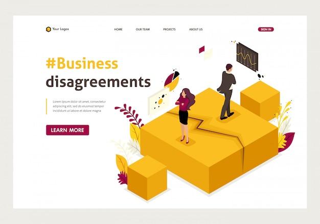 Página de inicio isométrica de desacuerdos, disputas y conflictos de socios comerciales.