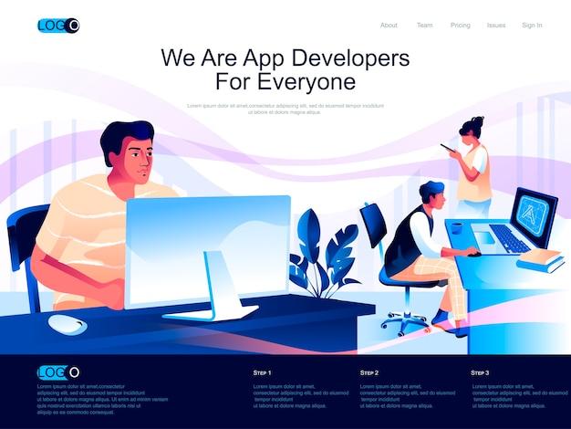 Página de inicio isométrica de desarrolladores de aplicaciones con situación de personajes planos