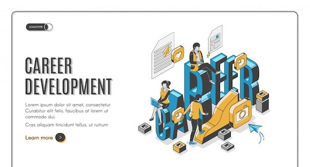 Página de inicio isométrica de desarrollo profesional