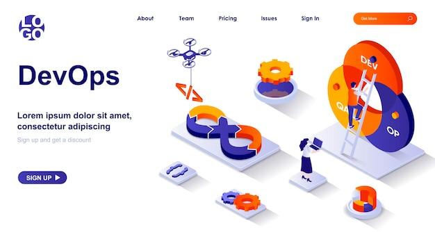 Página de inicio isométrica de devops 3d con personajes de personas
