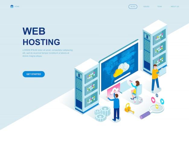 Página de inicio isométrica de diseño plano moderno de alojamiento web