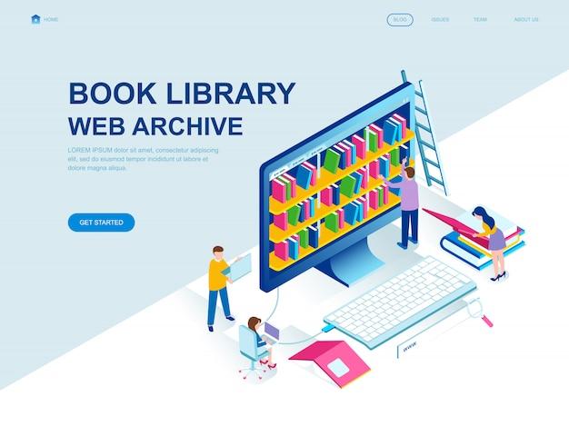 Página de inicio isométrica de diseño plano moderno de la biblioteca de libros