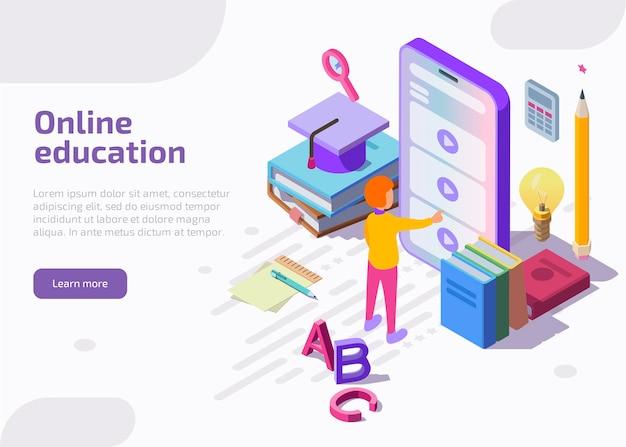 Página de inicio isométrica de educación en línea, banner web.