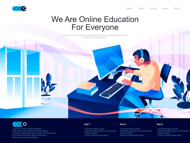 Página de inicio isométrica de educación en línea con situación de personajes planos