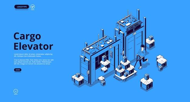 Página de inicio isométrica del elevador de carga