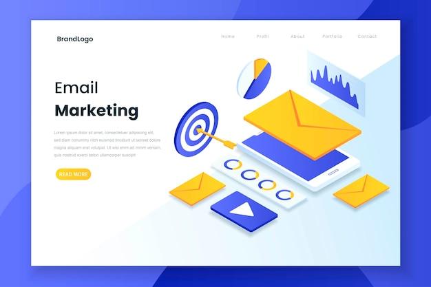Página de inicio isométrica de email marketing