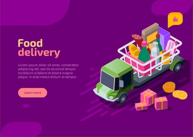 Página de inicio isométrica de entrega de alimentos.