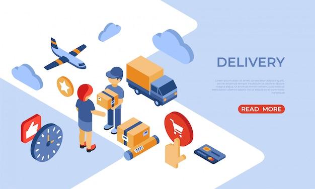 Página de inicio isométrica de entrega de la tienda en línea