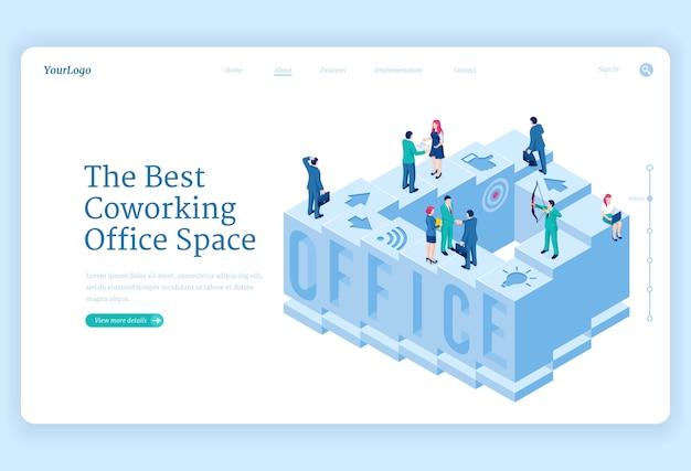 Página de inicio isométrica del espacio de oficina de coworking