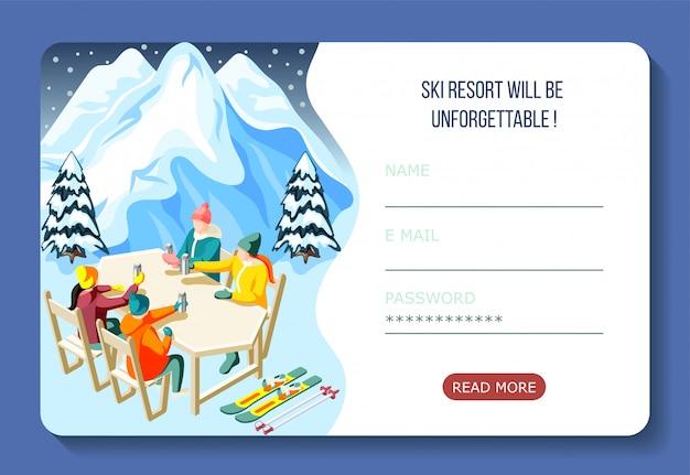 Página de inicio isométrica de la estación de esquí con esquiadores durante el consumo de bebidas calientes e interfaz de cuenta de usuario