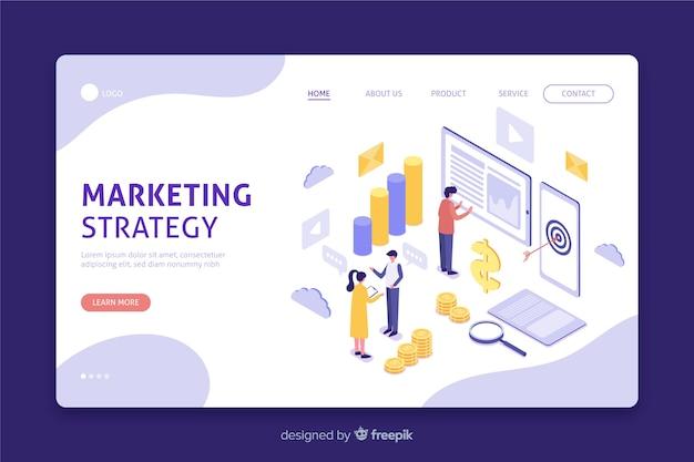 Página de inicio isométrica para estrategia de marketing