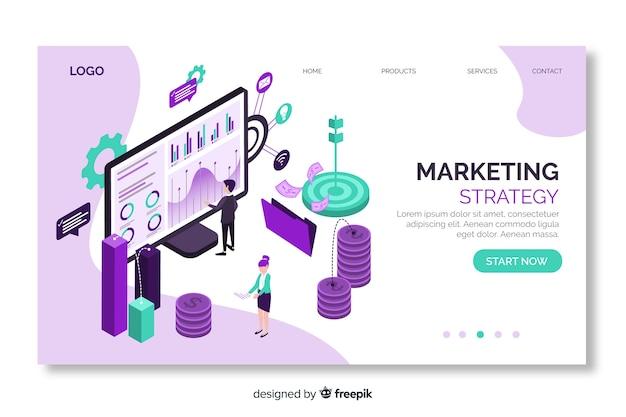 Página de inicio isométrica de estrategia de marketing