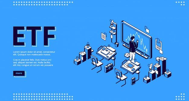Página de inicio isométrica de etf, fondo negociado en bolsa