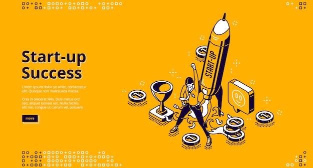 Página de inicio isométrica de éxito de inicio. hombre de negocios exitoso lanzamiento proyecto empresarial, crecimiento de la empresa, progreso