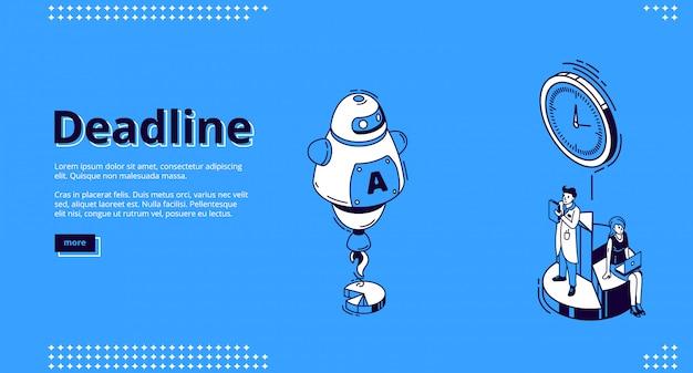 Página de inicio isométrica de fecha límite con robot ai