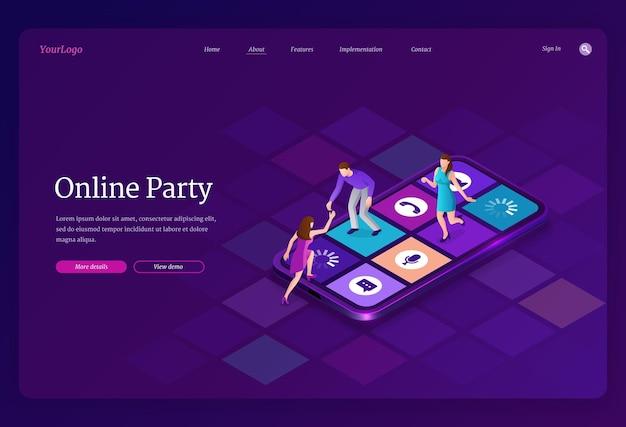 Página de inicio isométrica de fiesta en línea