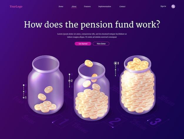 La página de inicio isométrica del fondo de pensiones ahorra dinero