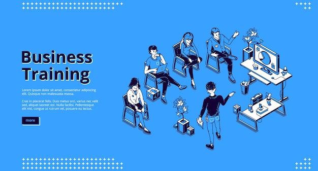 Página de inicio isométrica de formación empresarial.