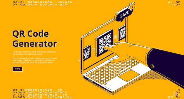 Página de inicio isométrica del generador de código qr