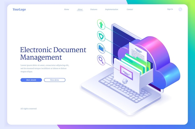 Página de inicio isométrica de gestión de documentos electrónicos