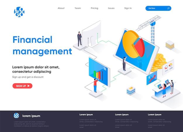 Página de inicio isométrica de gestión financiera