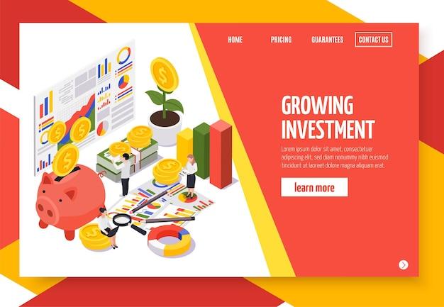 Página de inicio isométrica de gestión patrimonial
