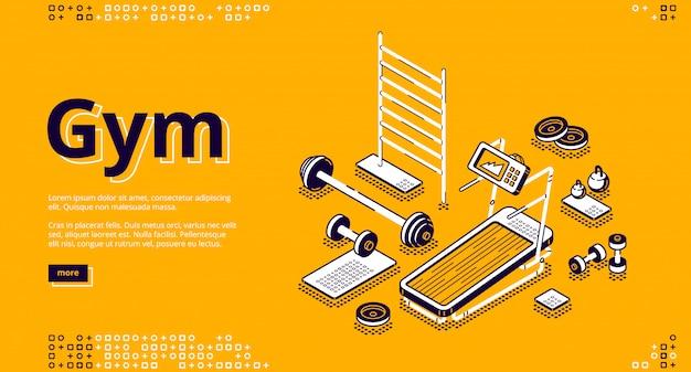 Página de inicio isométrica de gimnasio, equipos de gimnasia