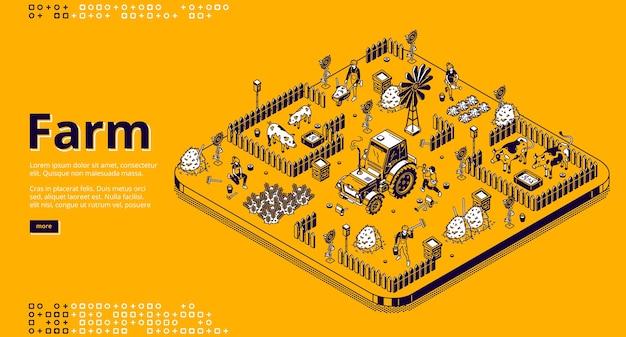 Página de inicio isométrica de la granja con agricultores que trabajan en el jardín o el campo, la gente usa maquinaria de tractor, alimenta a los cerdos o vacas, cosecha banner de web de arte de línea 3d de agricultura de aldea, cría de animales