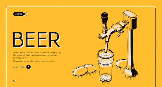 Página de inicio isométrica de grifo de cerveza, bebida alcohólica