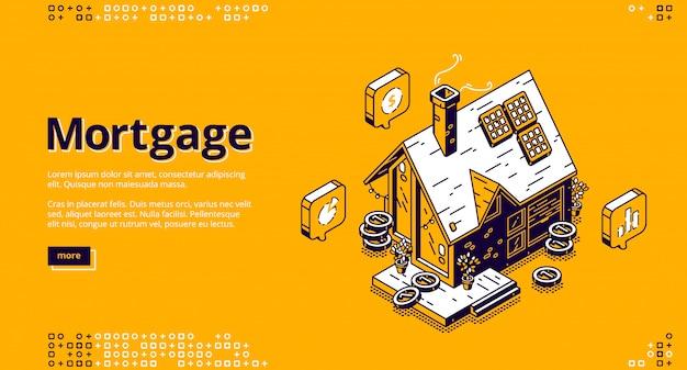 Página de inicio isométrica de hipotecas con casa de campo