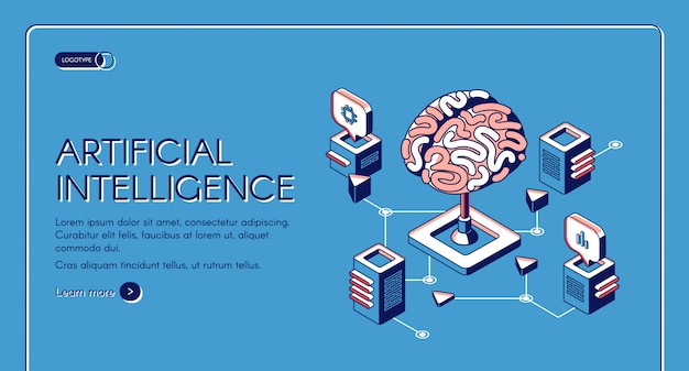 Página de inicio isométrica de inteligencia artificial