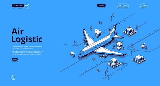 Página de inicio isométrica de logística aérea. servicio de empresa de entrega global de transporte de avión, importación de carga y exportación por avión, negocio de transporte mundial de mercancías de aviones