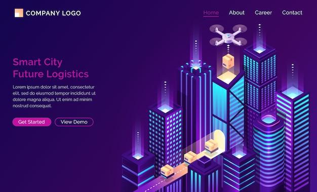 Página de inicio isométrica logística de futuro de ciudad inteligente