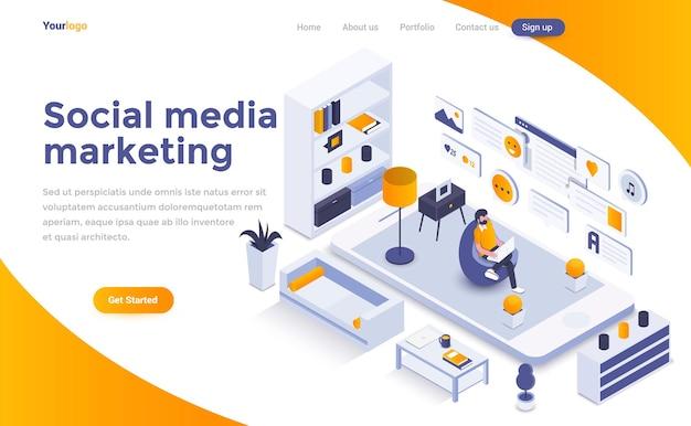 Página de inicio isométrica de marketing en redes sociales