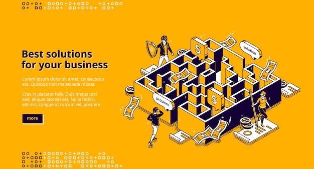 La página de inicio isométrica de las mejores soluciones comerciales, el hombre de negocios que busca la manera de resolver el problema a través del laberinto, el laberinto de paso del empleado, la superación del desafío, el objetivo de lograr un banner web de arte de línea 3d