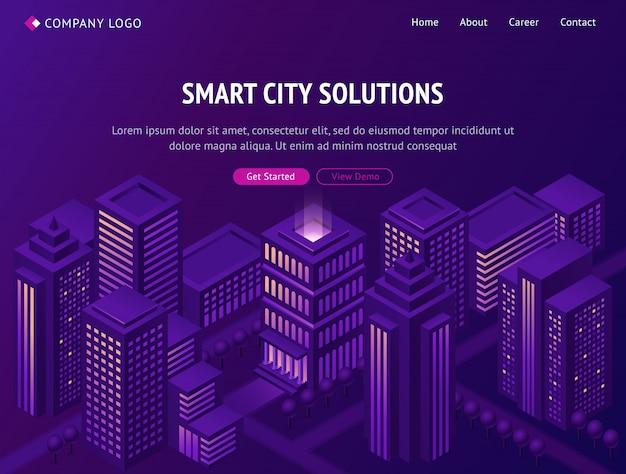 Página de inicio isométrica de metrópolis de ciudad inteligente.