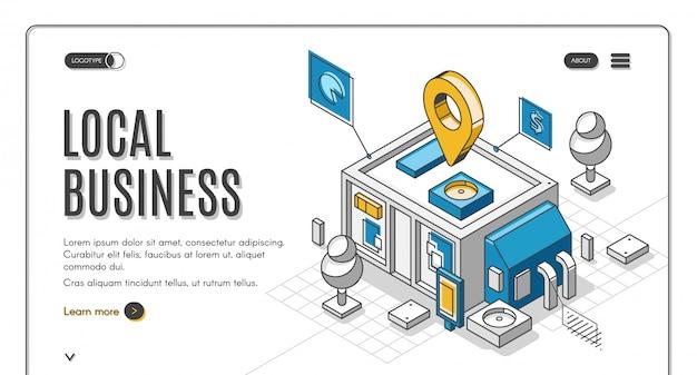 Página de inicio isométrica de negocios locales, inicio