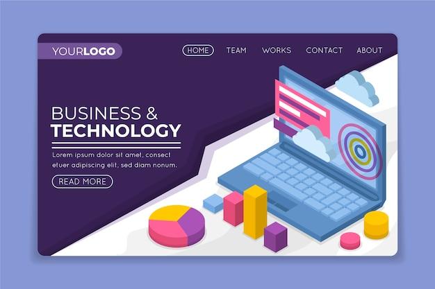 Página de inicio isométrica de negocios y tecnología