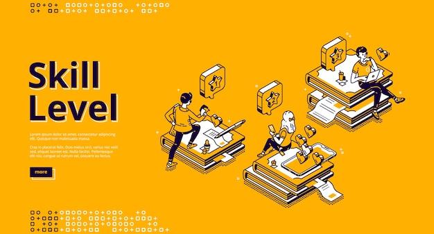 Página de inicio isométrica de nivel de habilidad. concepto de conocimiento y educación profesional con personajes diminutos sentados en enormes pilas de libros utilizando aparatos para leer y estudiar. banner de arte de línea 3d