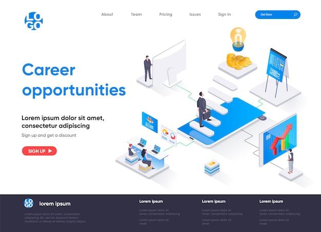Página de inicio isométrica de oportunidades profesionales