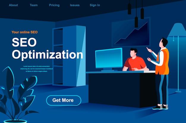 Página de inicio isométrica de optimización seo.
