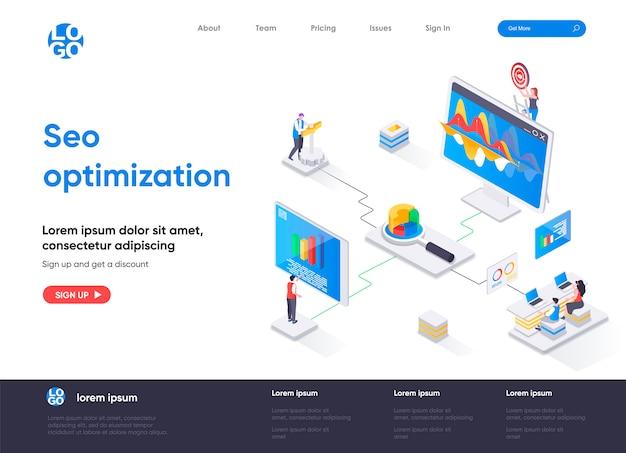 Página de inicio isométrica de optimización seo