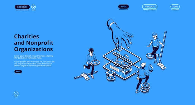 Página de inicio isométrica de organizaciones benéficas y sin fines de lucro. la gente pone dinero en la caja de donaciones.